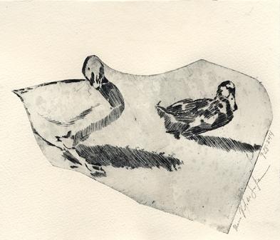 Greta & Patsy - Non Toxic Drypoint Print