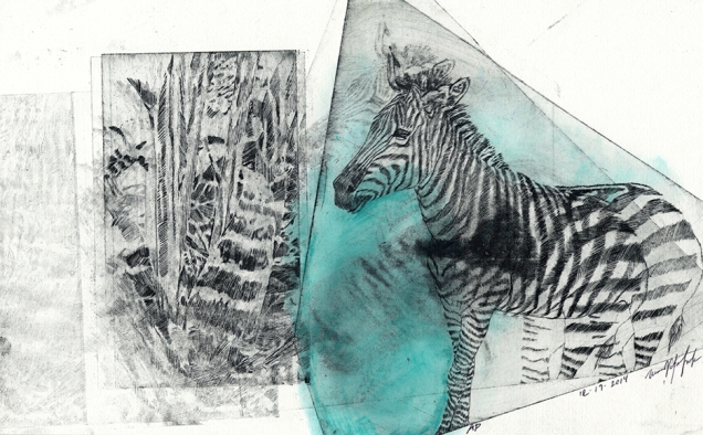 Striped Leaves - Non Toxic Drypoint Print