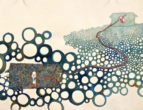 """""""Home is where..."""" Watercolor and Embroidery Thread, 2013, 12 x 26"""