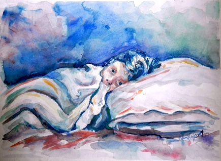 """""""WideAwake"""" Watercolor, 12 x 9, 2014"""