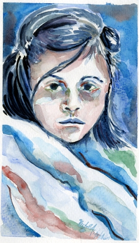 """Stare II"" Watercolor, 9x6, 2014"