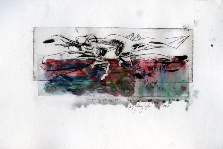 Watercolor Non toxic Intaglio Drypoint Print, 2015, 10 x 8