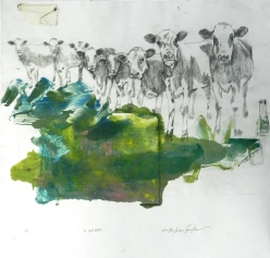 Grazing, Color ii, Drypoint Monoprint