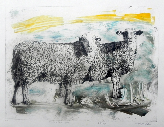 Neighbor's Sheep- Color ii, Drypoint Monoprint, 2015