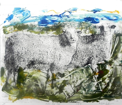 Neighbor's Sheep - Color i, Drypoint Monoprint, 2015