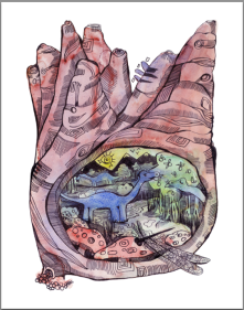 3. Journey to the Center of the Earth, Watercolor and Ink, 2015
