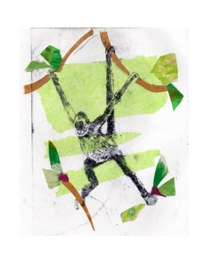 Monkey - Set 3, Nontoxic Drypoint Print with Chine Colle, 2015