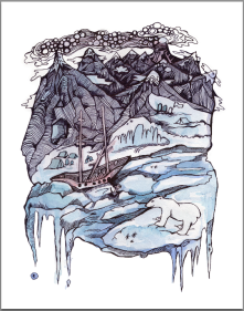 2. Adventures of Captain Hatteras, (The English at the North Pole & The Desert of Ice), Watercolor and Ink, 2016