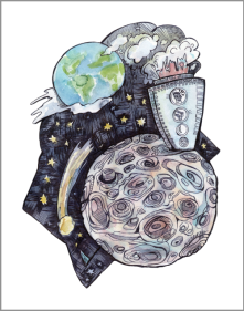 4. From the Earth to the Moon & Around the Moon, Watercolor and Ink, 2015
